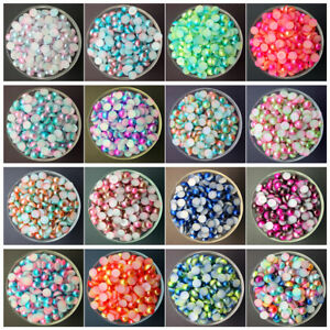3-4-5-6-8MM-Multi-color-Half-Pearl-Bead-Flat-Back-Scrapbook-for-Craft-FlatBack-U