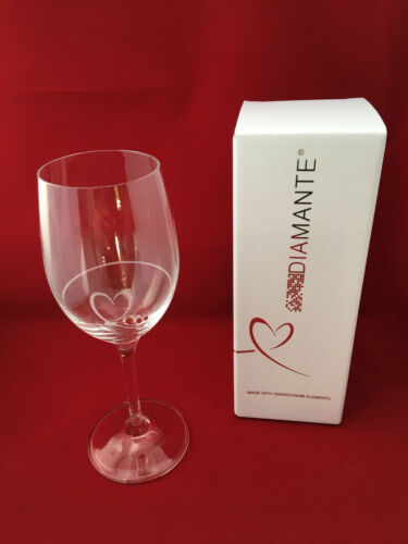 Brand New Petit Diamante Heart Wine Glass Boxed - Ideal Gift For Any Occasion