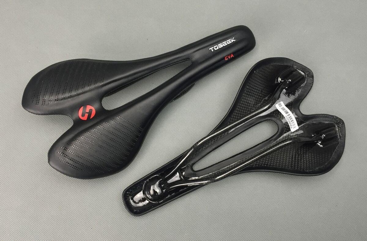 TOSEEK  Carbon Leather EVA Road MTB Bike Bicycle Hollow Seat Saddle 2715cm 135g  fashion