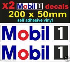 x2 Mobil 1 oil rally race bike classic decals car van bus truck mini sticker dub