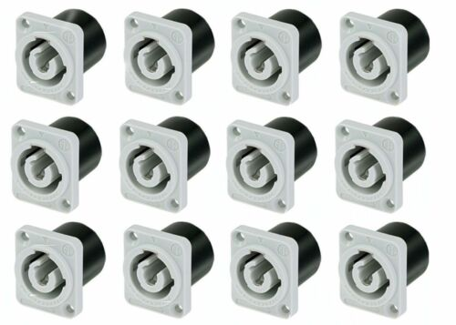 12 Pack Neutrik NAC3MPB-1 Powercon Receptacle Power Out Gray Rated 20A//250V AC