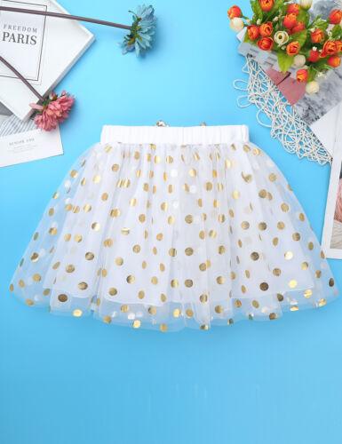 Kid Girls Birthday Princess Outfit Long Sleeve Shirts Tops with Polka Dots Skirt
