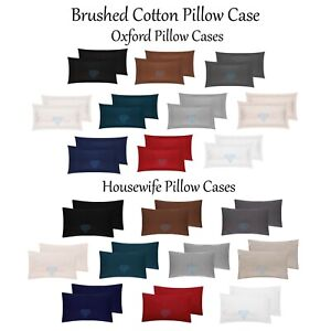 Flannelette-100-Brushed-Cotton-Soft-50-x-75cm-Oxford-Housewife-Pillow-cases-NEW