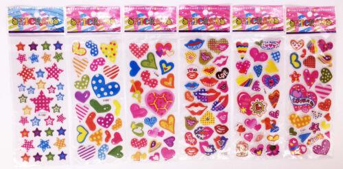 heart lover stars girls Stickers 6 sheets Kids favor Disney figures stickers