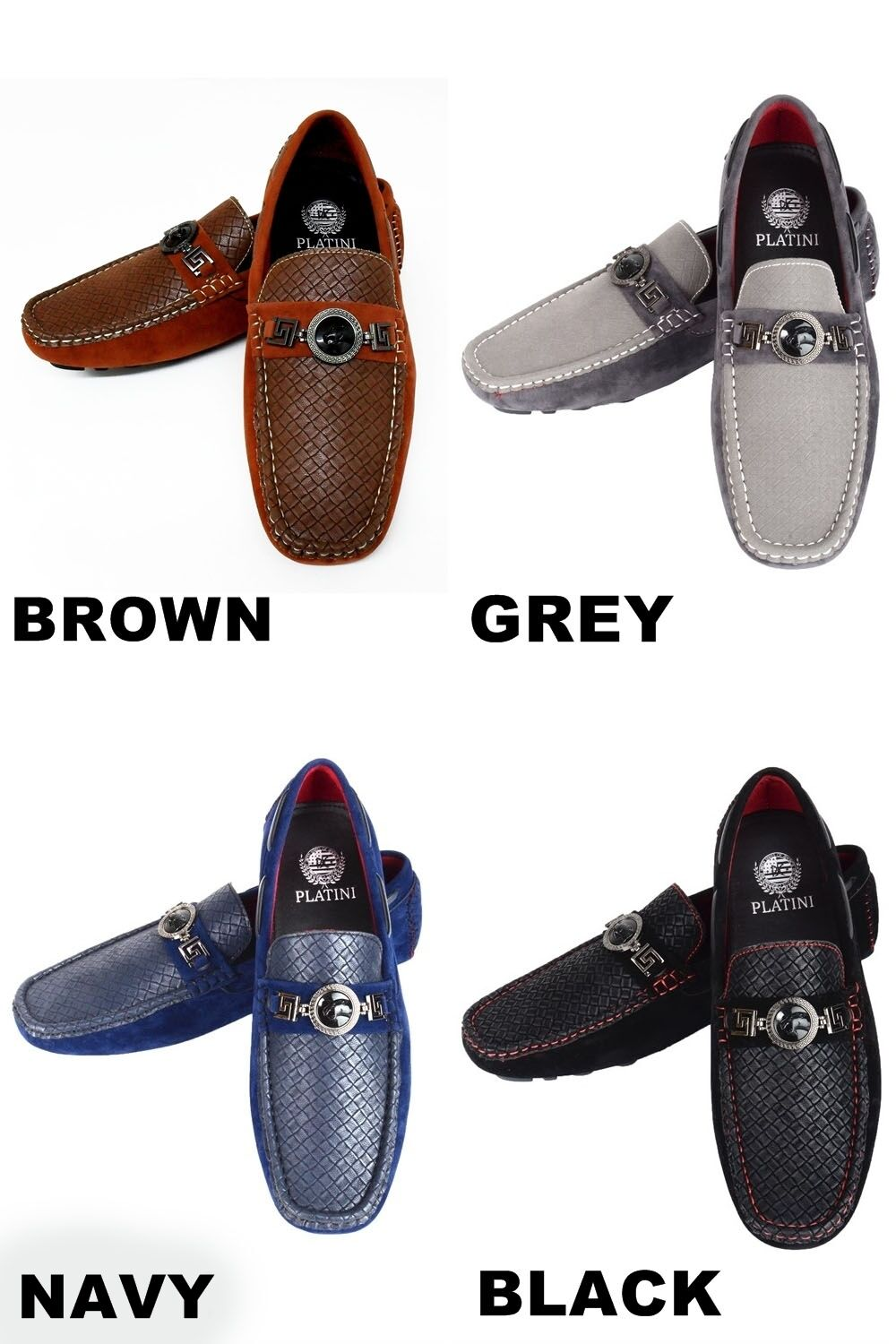 Men's PLATINI black grey navy brown suede loafers PSH3503-6 slip on shoes style PSH3503-6 loafers 080c64