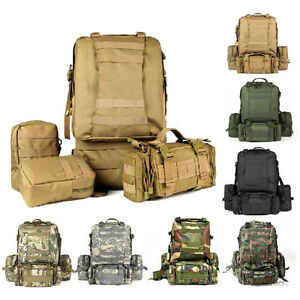 482007c0dc26 Details about 55L Molle Outdoor Military Tactical Bag Camping Hiking  Trekking Backpack 3D New