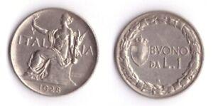 1928-Vittorio-Emanuele-III-Buono-Lire-1-Italia-Seduta-Nichelio-Vendita-Multipla