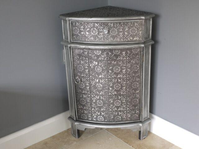 Blackened Silver Embossed 1 Drawer Corner Table  Cabinet side table Marrakesh