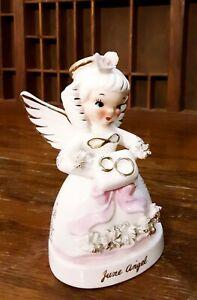 Vtg June Angel Figurine Napco Gold Halo Spaghetti Trim A1366