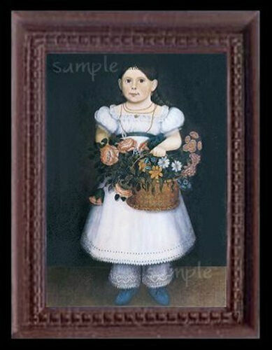 Folk Art Girl Miniature Dollhouse Doll House Picture