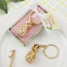 1 Gold Pineapple Keychain Wedding Shower Favor Tropical Beach Hawaii Key Chain