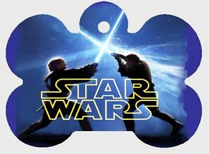STAR WARS PET ID TAG Personalized Light Sabres Custom Any Name Printed 2 Sides