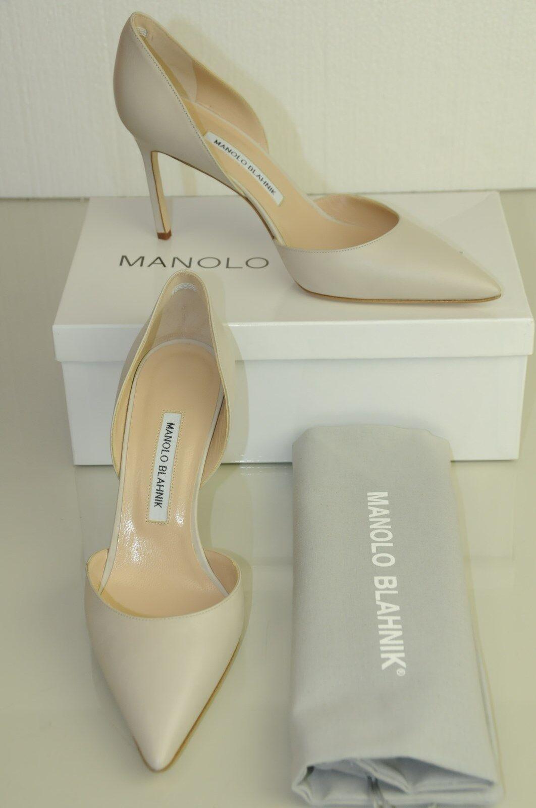 Nuevo De Manolo Blahnik Tayler 90 90 90 Nude Beige Claro gris Tacones Pumps Dorsay Zapatos 40.5  los clientes primero