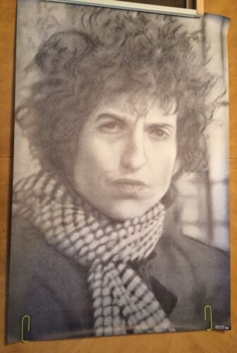 Vintage Bob Dylan Poster Dots Psychedelic Pin-up Trippy Dotted Litho Sketch 70s