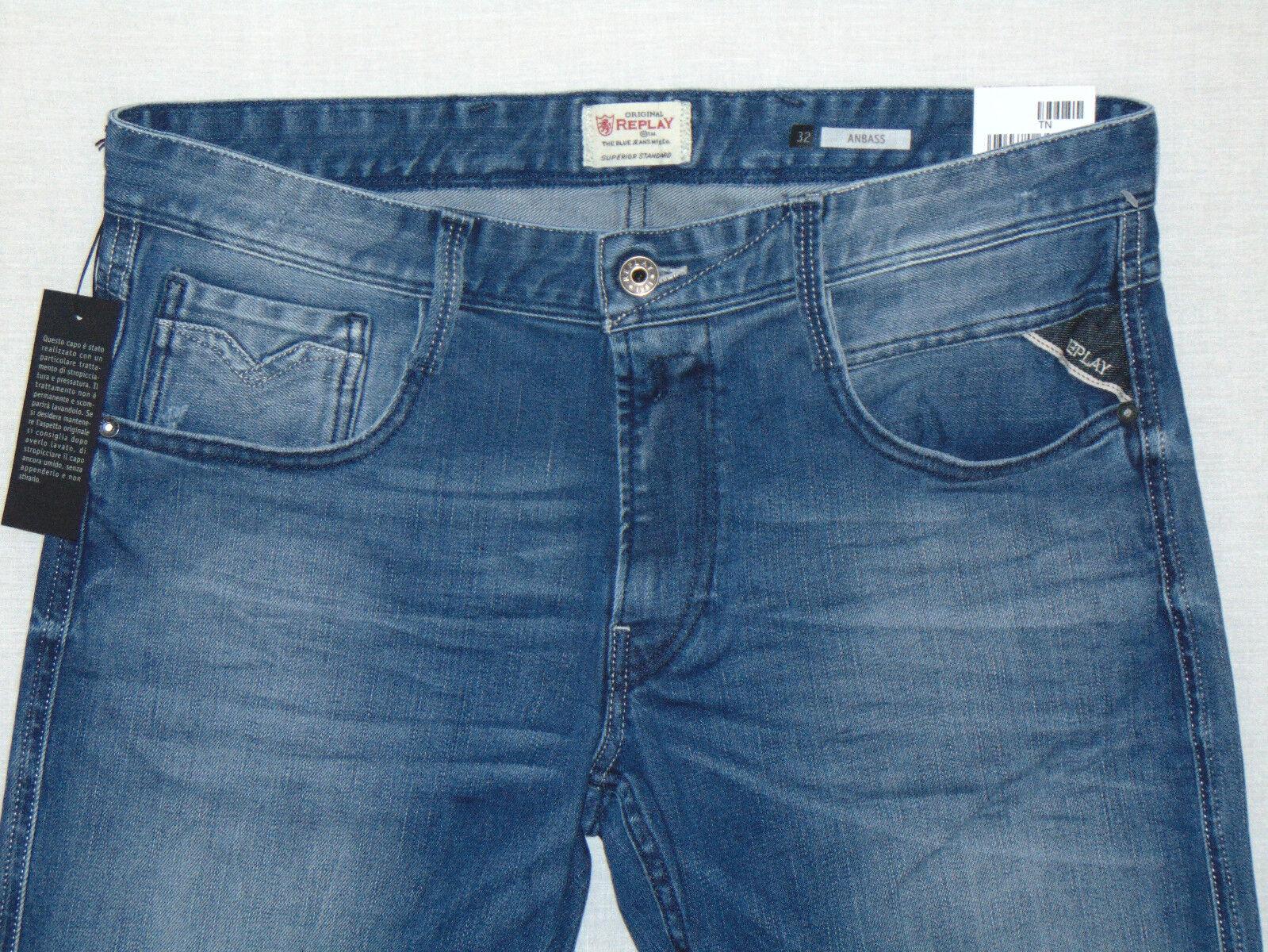 REPLAY ANBASS Stretch Slim Slim Slim Fit RRP  da uomo 12oz Blu Scuro Jeans Denim Comfort ecd9ce