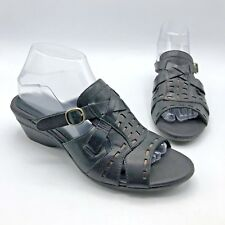 6d0a8a6447f3 Clarks 36977 Women Black Bronze Leather Open Toe Sandal Shoe Size 8.5M Pre  Owned