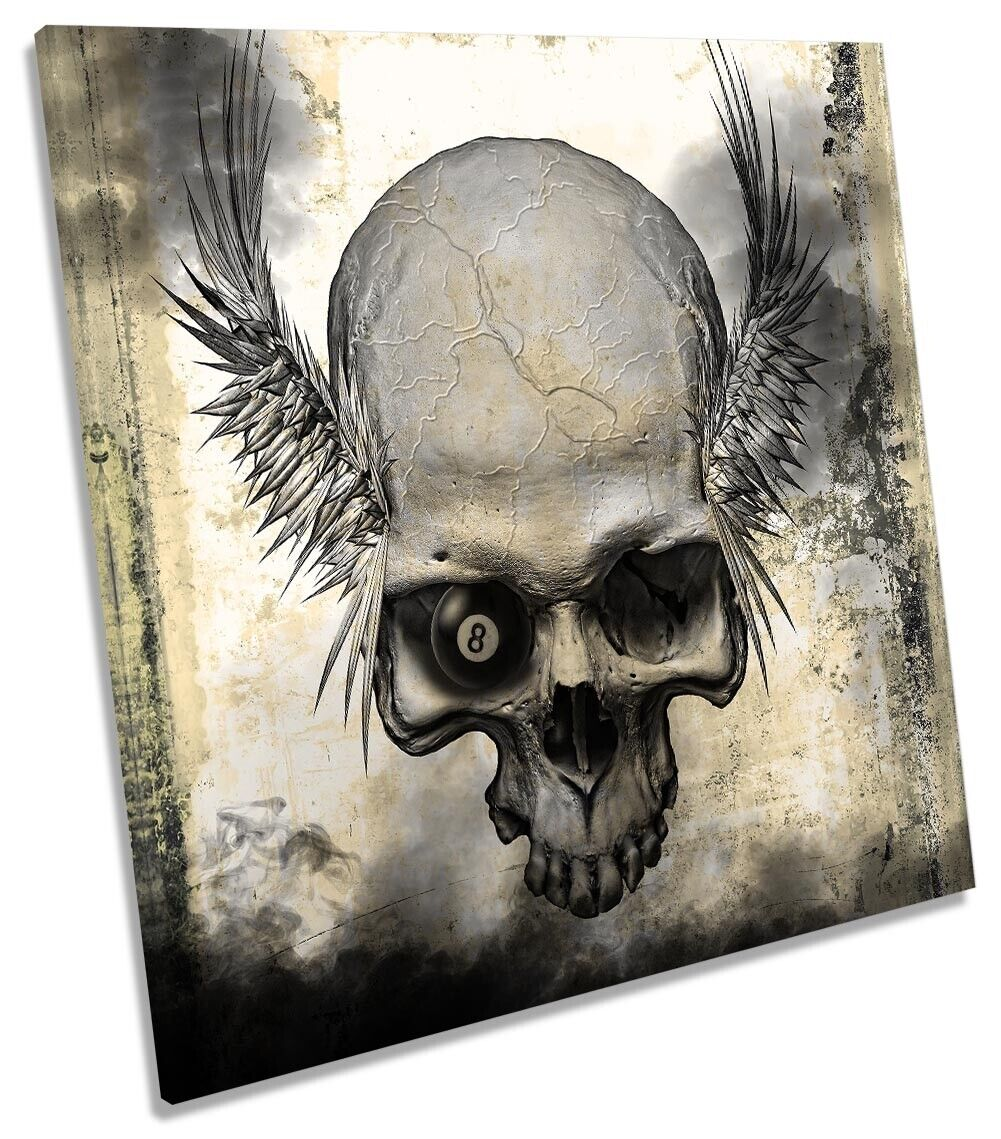 Skull Angel Wings Grunge Picture CANVAS WALL ART Square Print