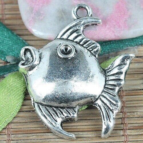 10pcs tibetan silver color fish charms EF0297