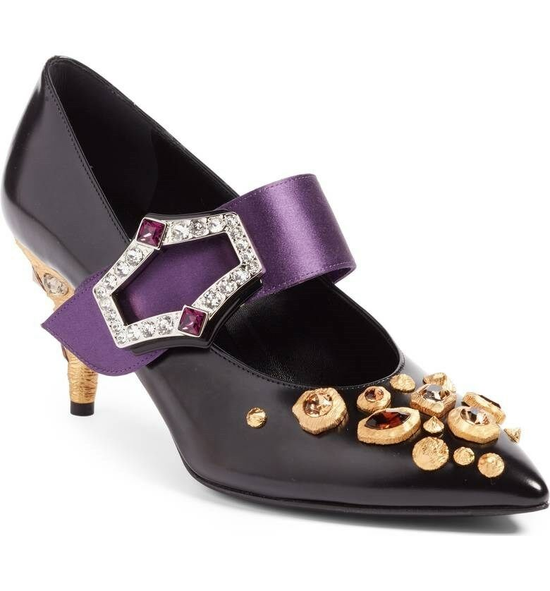 PRADA Jeweled Mary Jane Pump, new 39.5