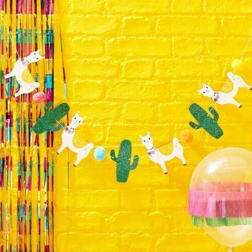 Llama Glitter Cactus /& Pom Pom Bunting