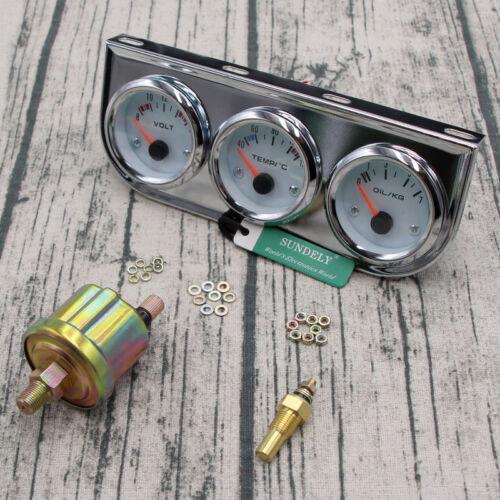 2″//52mm Car Auto Chrome Face Triple Gauge Set Oil Pressure Water Temp Volt Meter
