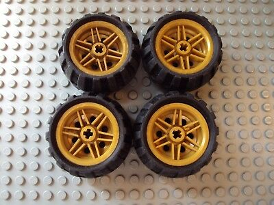 LEGO Lot of 4 Light Gray Spoked Western Tires