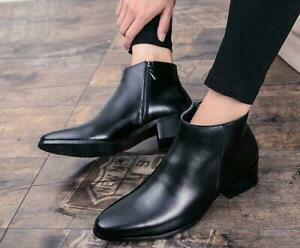 Men/'s Ankle Boots Black Pointed Toe Cuban Heel Fashion Dress Formal Shoes Size