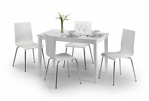 Details About Julian Bowen Taku White Dining Table 4 Wood Mandy Chairs With Metal Legs