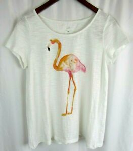 J JILL Beach Tee Collection Flamingo Womens 100% Cotton Short Sleeve Small
