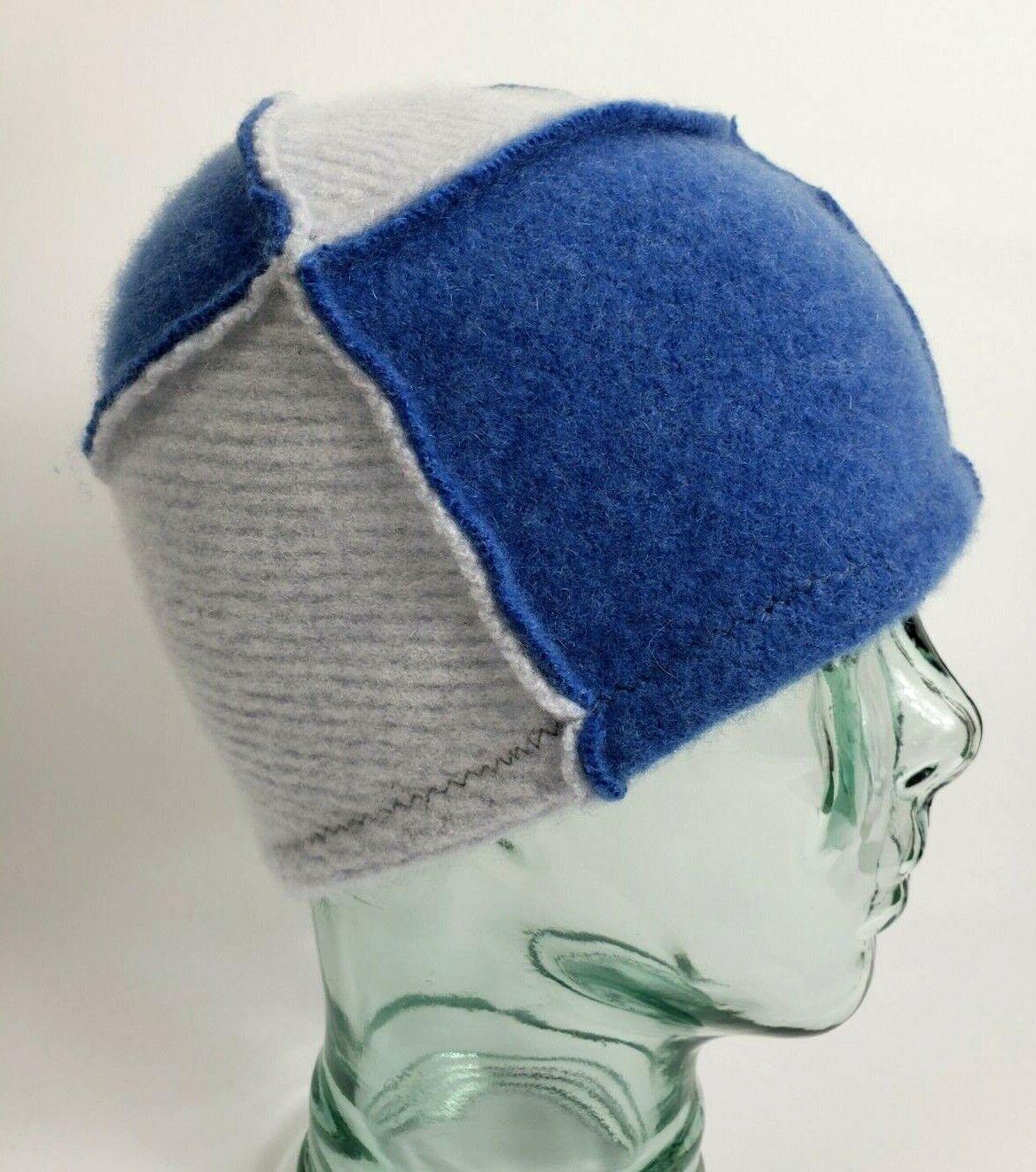 # 100% Pure Cashmere Sombrero Gorro De Lana Gris Azul unisex hecho a Mano Regalo A82
