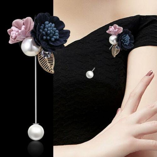 Elegant Rose Camellia Flower Pearl Brooch Pin Women Wedding Collar Pin Jewellery