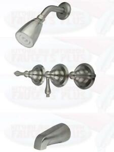 Brushed-Satin-Nickel-3-Handle-Combination-Bathroom-Tub-amp-Shower-Diverter-Faucet