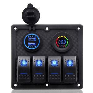 12V-24V-Bus-Boot-LED-4-Gang-Schaltpanel-Schalter-Schalttafel-Voltmeter-USB-Ports