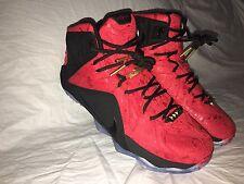 Nike Men's LeBron 12 Ext Red Paisley Aka King Cloak Basketball Shoes Size 9.5