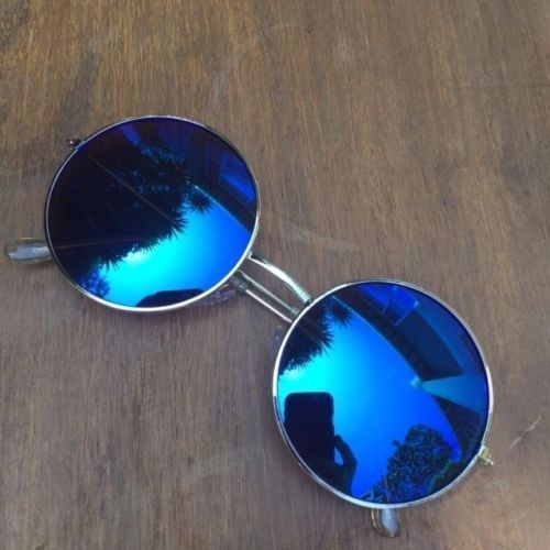70s Medium Big BOHO Retro Fashion Round Circle Lennon Mirror LIT Sunglass 2306 M