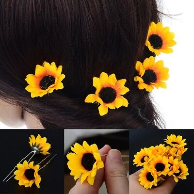 7a0c5a7578073 Details about 10Pcs Fashion Yellow Sunflower Hair Clips Hair Pins Wedding  Bridal Prom Brooch