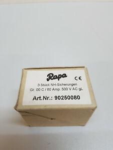 3Stueck-NH-Sicherungen-Sicherungen-Groesse-C00-80A-500V
