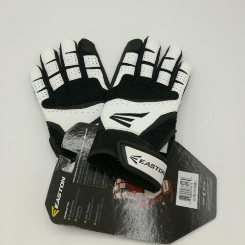 Size Large Easton Youth HS VRS Batting Gloves,Black//White