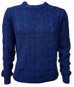 Men-039-s-ex-tienda-Mezcla-De-Lana-Cable-de-punto-Jersey-Tamano-Mediano-40-034-Pecho-Azul