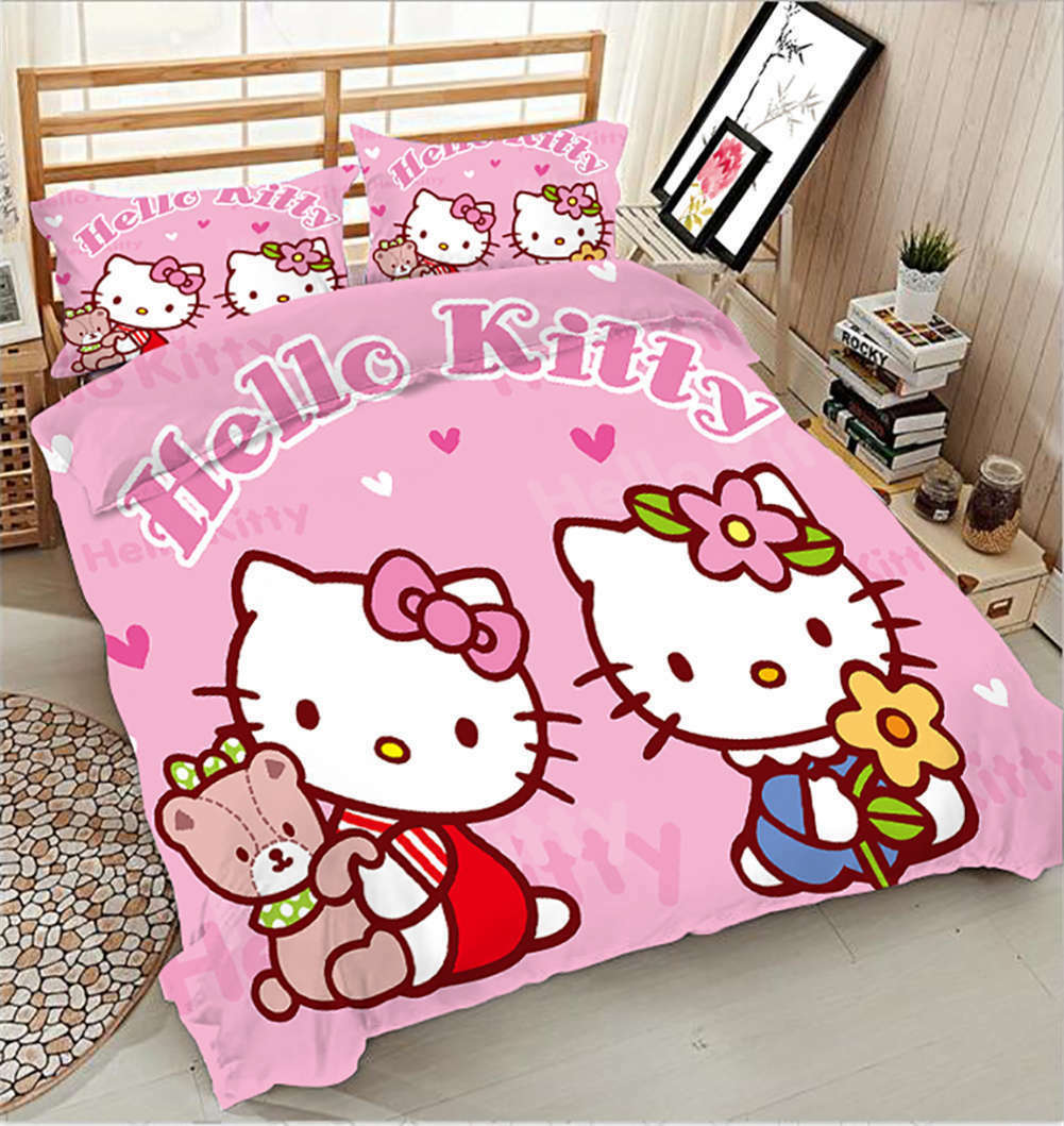 Kitty With Bears 3D Printing Duvet Quilt Doona Covers Pillow Case Bedding Sets