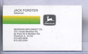 Details about Vintage 1994 John Deere Jack Forster Salesman Business Card  Rockford Illinois IL