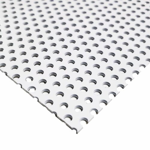 """0.040/"""" x 24/"""" x 24/"""" 1//8/"""" Holes White Painted Aluminum Perforated Sheet"""