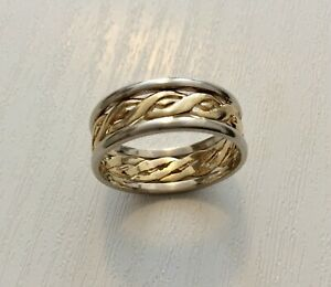 Beautiful-Quality-Ladies-Full-Hallmarked-Vintage-Two-Colour-9CT-Celtic-Band-Ring
