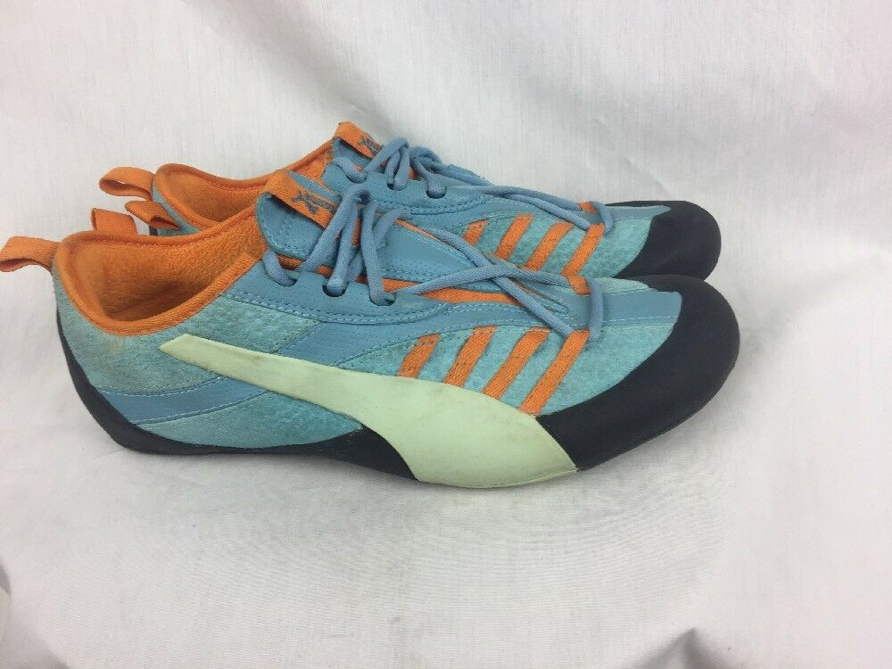 Puma Workout Sports Shoes Womens Comfort 7B Blue/Orange Suede Leather Comfort Womens Fashion 2a25f1