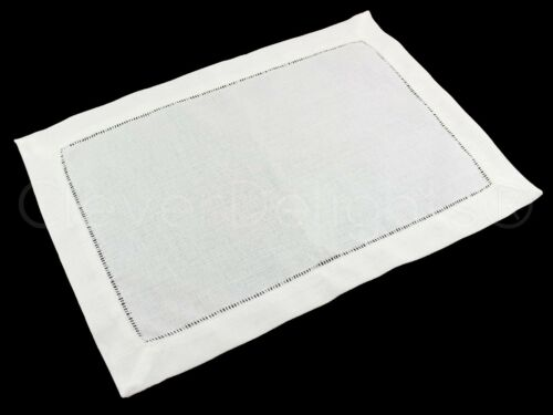 """White Hemstitched Placemats 6 Pack 14/"""" x 20/"""" Easy Care Washable"""