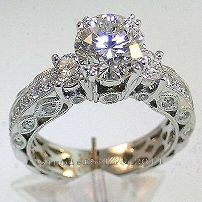 Vintage Three-Stone Diamonique Cz White Gold Filled Women Wedding Ring Size 5-11