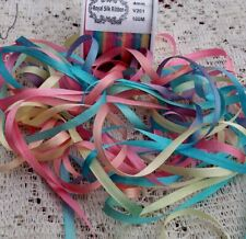 VARIEGATED EMBROIDERY 100 /% SILK RIBBON 4MM 50 YD ~ ASSORTMENT~