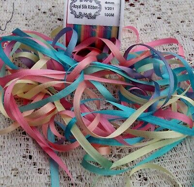 WIDE  COLOR # 201  8 YARDS 7mm 100/% VARIEGATED PURE SILK  RIBBON 1//4/""