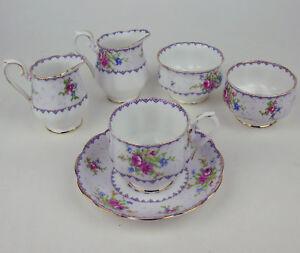 2-Creamers-2-Sugar-Bowls-Teacup-Royal-Albert-Petit-Point-vintage-Clearance-Lot
