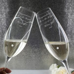 Personalised-Engraved-Glass-Mr-amp-Mrs-Wedding-Flutes-Toasting-Champagne-Flute